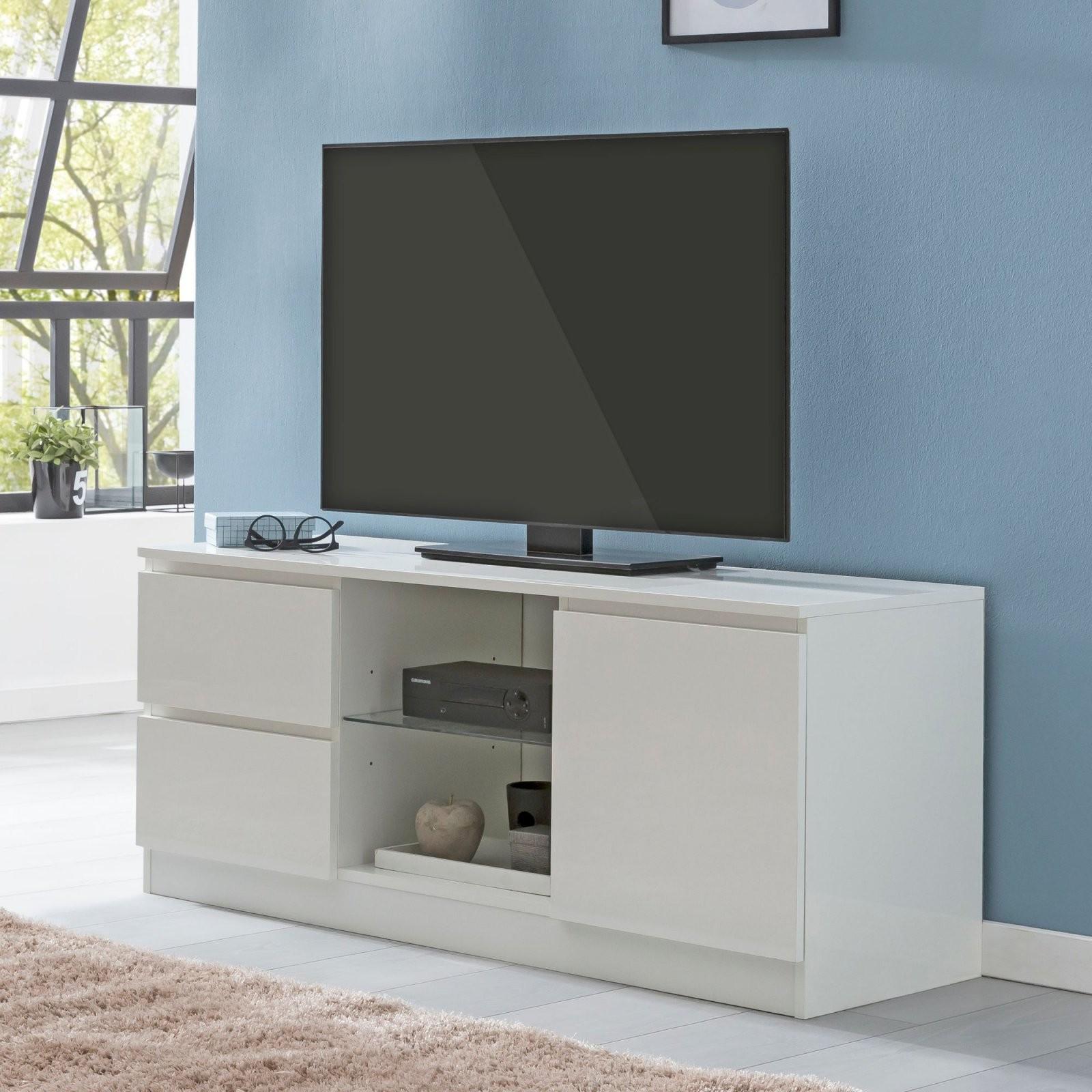 Finebuy Lowboard Tv Board Weiß Hochglanz Fernsehkommode Fernsehtisch von Lowboard Weiß Hochglanz Zum Hängen Bild