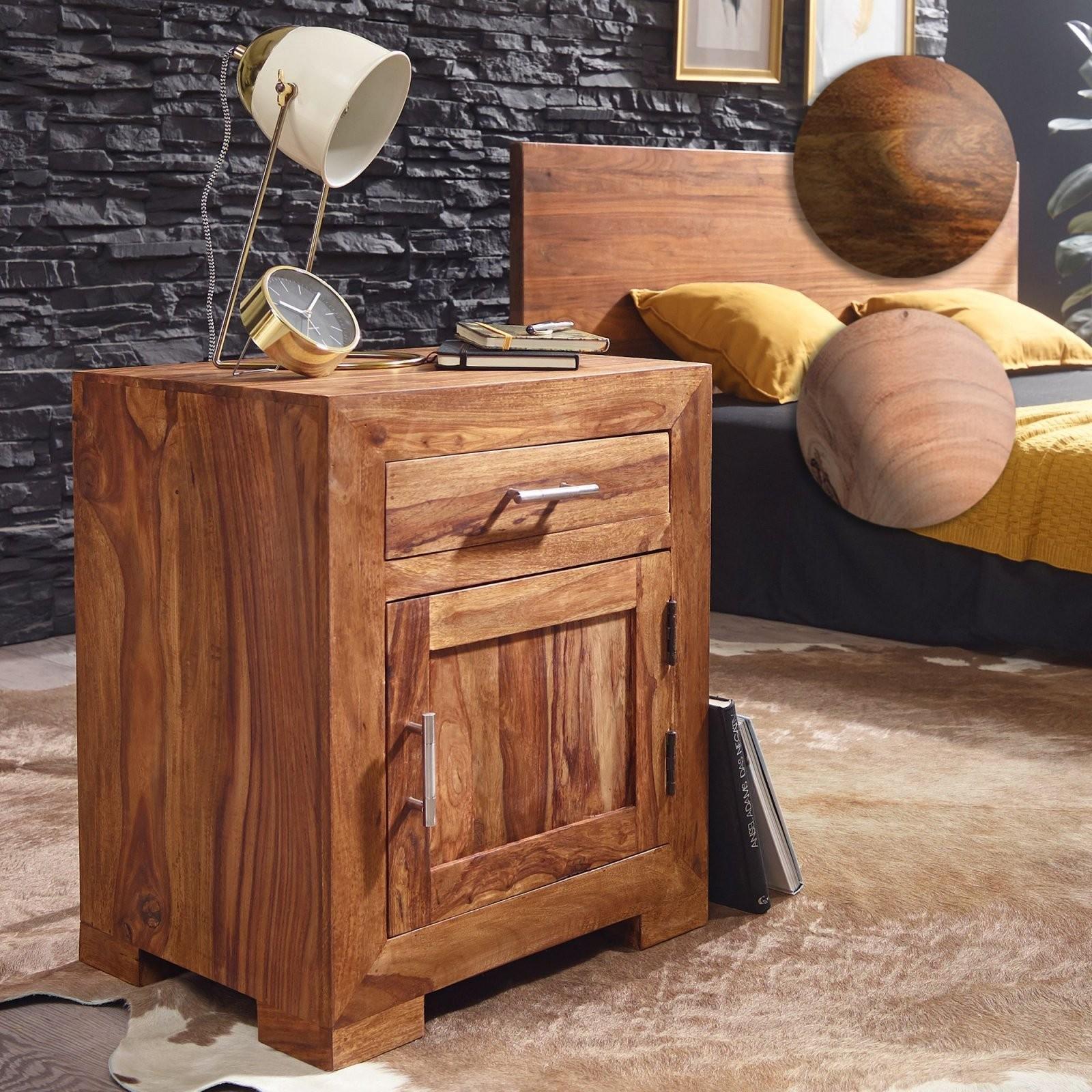 Finebuy Nachttisch Massivholz 60 Cm Nachtschrank Nachtkonsole Für von Nachttisch 40 Cm Breit Bild