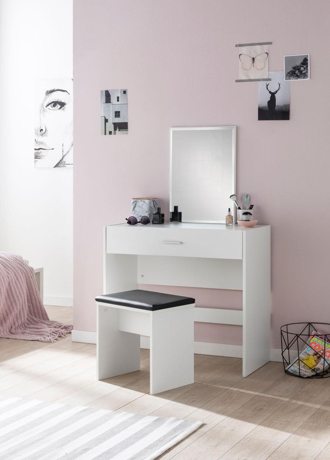 Finebuy Schminktisch Mit Spiegel Und Hocker 81 X 131 X 39 Cm Weiß von Schminktisch Modern Mit Spiegel Bild
