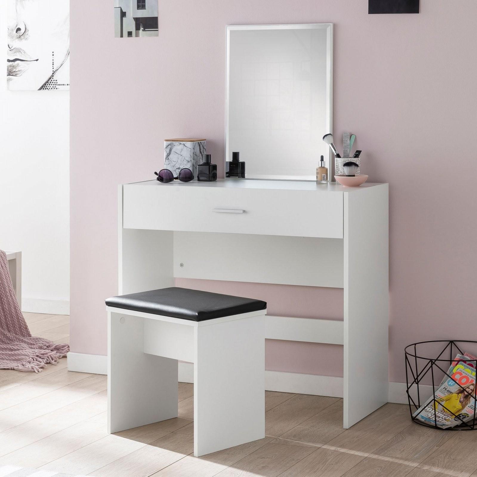 Finebuy Schminktisch Mit Spiegel Und Hocker 81 X 131 X 39 Cm Weiß von Schminktisch Modern Mit Spiegel Photo