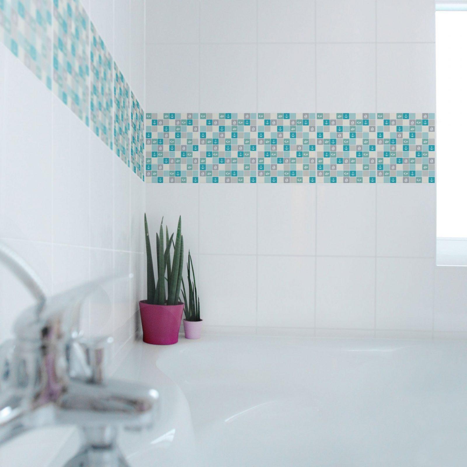 Fliesen Bordüre  Selbstklebende Mosaikfliesen Noyk68 Maritim von Mosaik Fliesen Türkis Bad Photo
