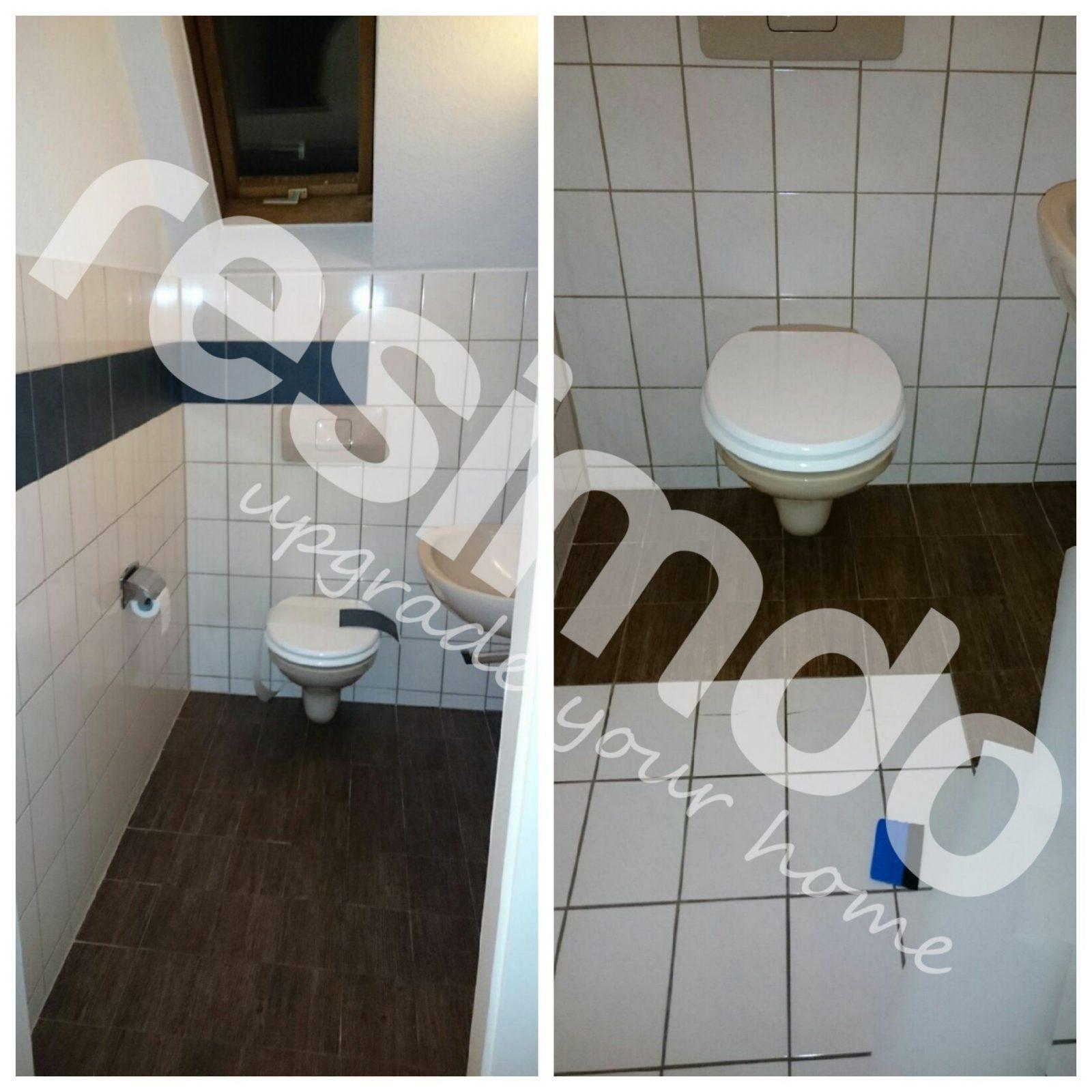 Fliesen Toilette Folieren Renovieren Holz Bekleben Diy von Fliesen Überkleben Vorher Nachher Photo