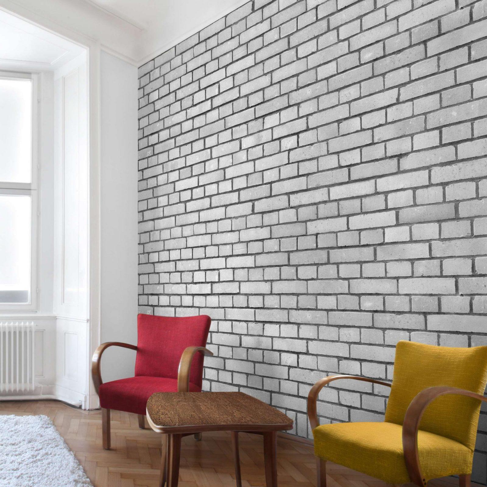 Fototapete  Weiße Backstein Mauer  Vlies Fototapete Quadrat von Tapete In Steinoptik Wohnzimmer Photo