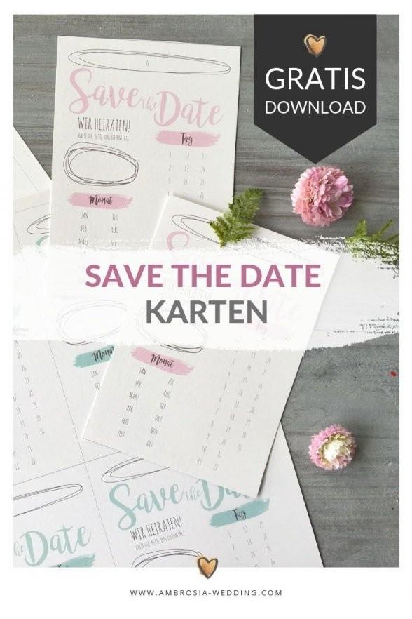 Freebie  Schlichte Save The Date Karten Zum Selbst Ausdrucken von Save The Date Karten Basteln Bild