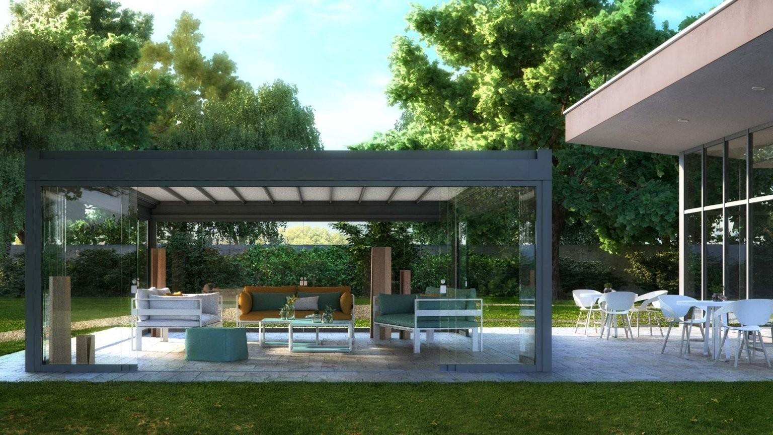 Freistehende Aluminium Pergola Mit Umlaufender Schiebtüren von Sonnenschutz Pavillon Mit Faltdach Bild
