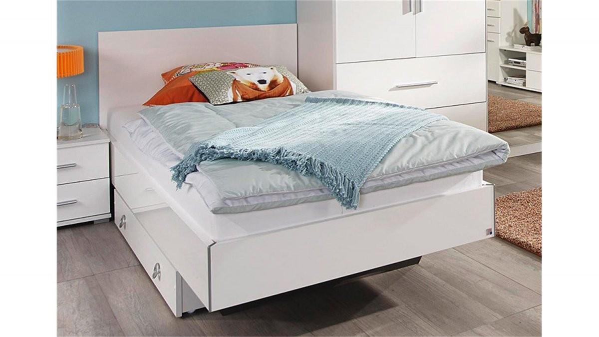 Futonbett Manja Jugendbett Weiß Hochglanz 90X200 Cm von Bett Hochglanz Weiß 90X200 Bild