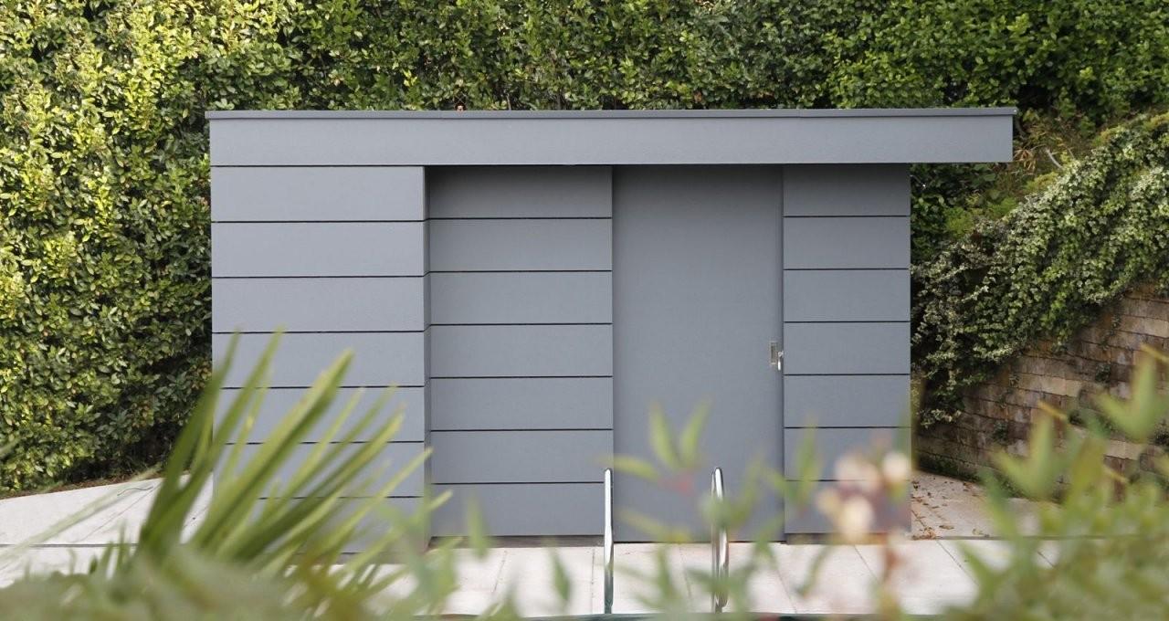 Garden Shed Modern Design Grey Hpl Planks  Lowest Retaining Wall von Gartenhaus Modern Selber Bauen Bild