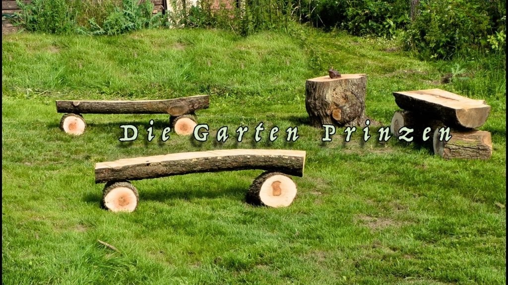 Gartenbank Aus Baumstamm Sägen Baumstammbank  Youtube von Rustikale Gartenbank Aus Baumstämmen Bild