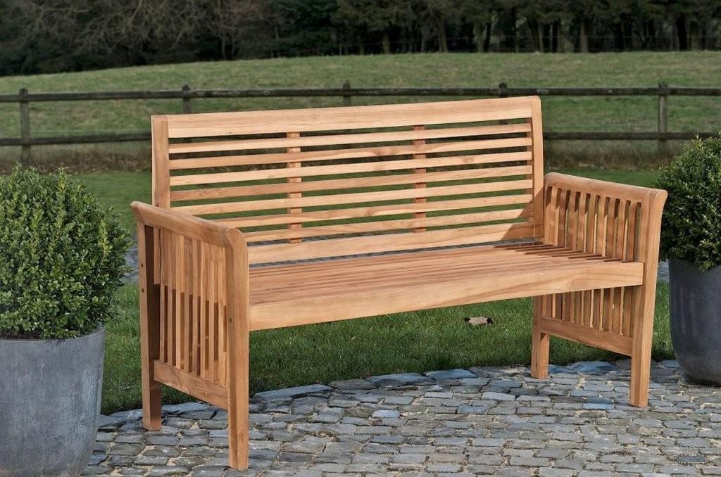 Gartenbank Teakholz Bank Massiv Holz Länge Wählbar 120 150 180 200 von Gartenbank Holz 120 Cm Bild