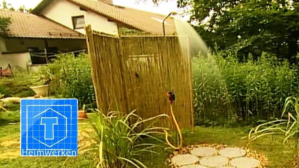 Gartendusche Anlegen  Tooltown Garten  Youtube von Sichtschutz Für Duschen Im Freien Bild