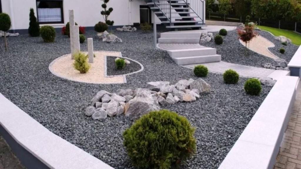 Gartengestaltung Mit Kies von Gartengestaltung Mit Kies Und Gräsern Photo