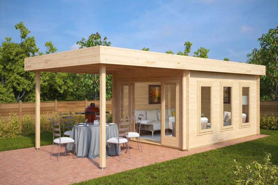 Gartenhaus Mit Sonnendach Jacob E 12M²  44Mm  3X4  Hansagarten24 von Moderne Gartenhäuser Aus Holz Bild
