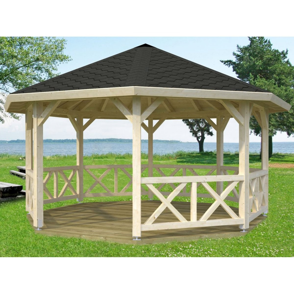 Gartenlauben  Holzpavillons Online Kaufen Bei Obi  Obi von Pavillon Holz 4X4 Selber Bauen Bild