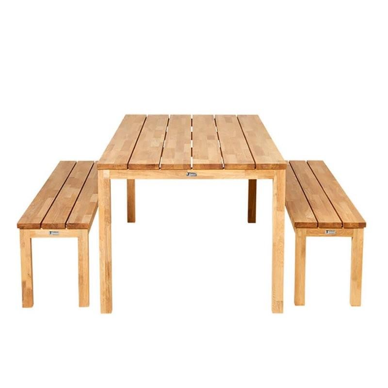Gartenmöbel Set Finn Aus Teakholz  Gartentraum von Gartentisch Mit 2 Bänken Bild