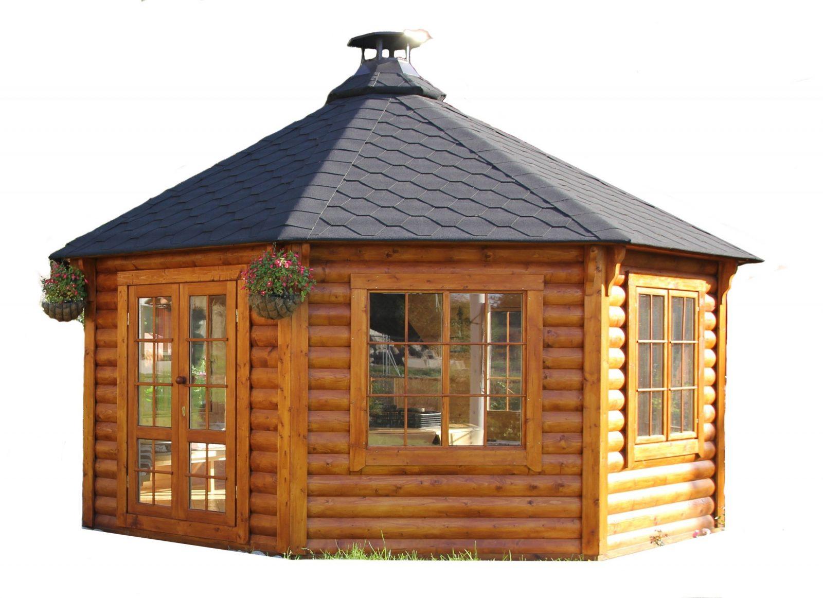 Gartenpavillon (Gartenhaus) Aus Bestem Holz Mit Grill Und Schornstein von Holz Pavillon Bausatz Günstig Photo