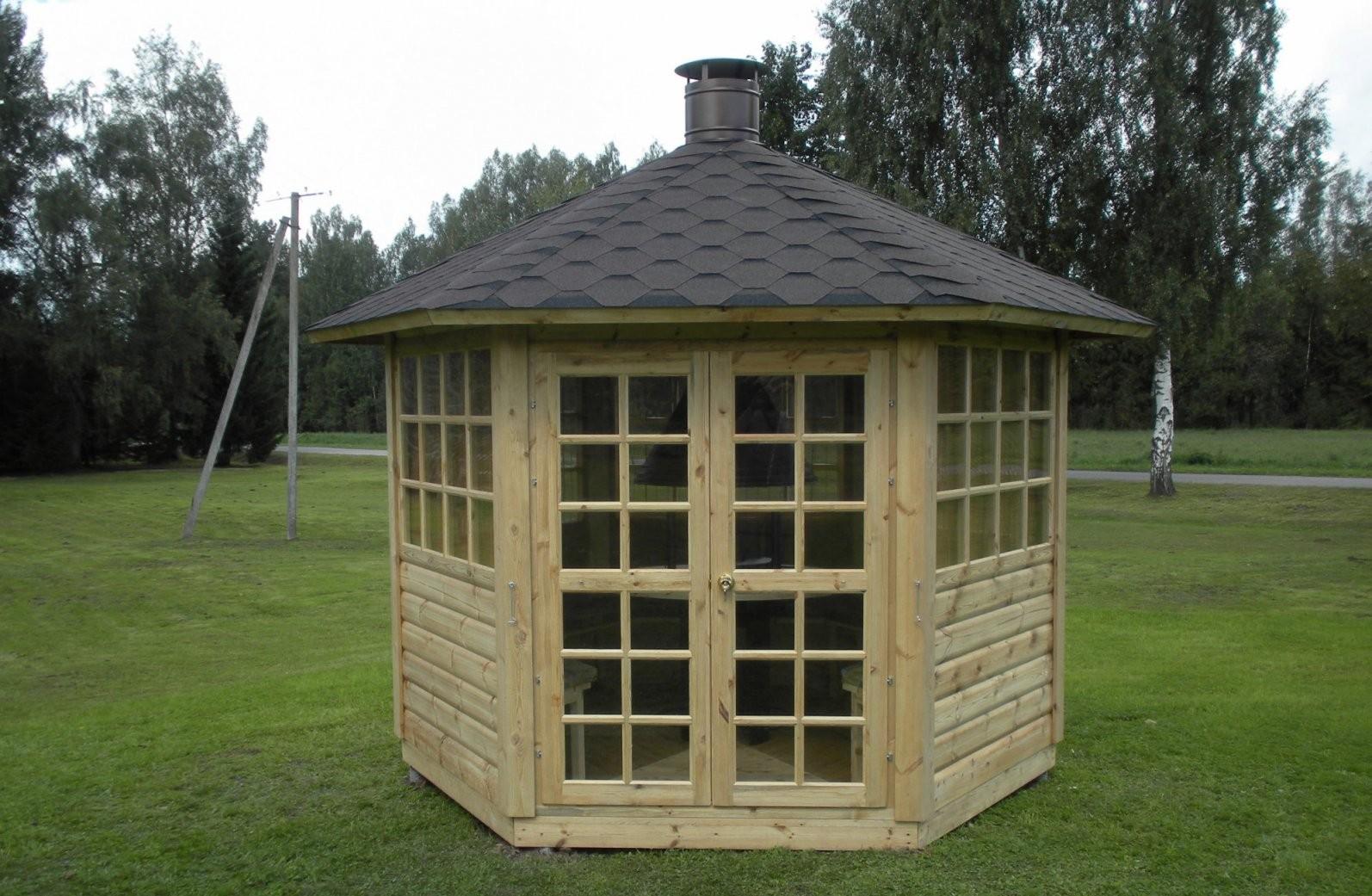 Gartenpavillon (Gartenhaus) Mit Grill Und Schornstein Aus Holz von Holz Pavillon Bausatz Günstig Photo