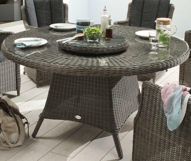 Gartentisch 150 Cm Rund Vintage Grau Alu Polyrattan Geflechttisch von Gartentisch Rund 150 Cm Photo