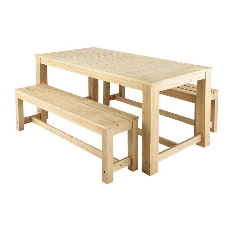 Gartentisch + 2 Bänke Aus Holz B 180 Cm Bréhat  Maisons Du Monde von Gartentisch Mit 2 Bänken Photo