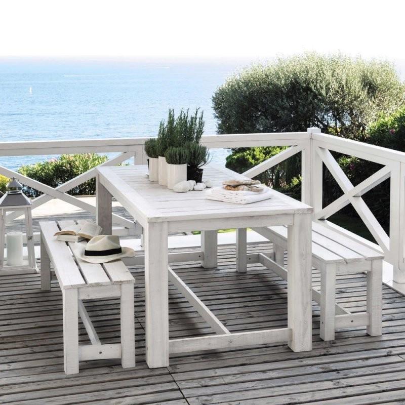 Gartentisch + 2 Bänke Aus Holz B 180 Cm Weiß Bréhat  Maisons Du Monde von Gartentisch Mit 2 Bänken Bild