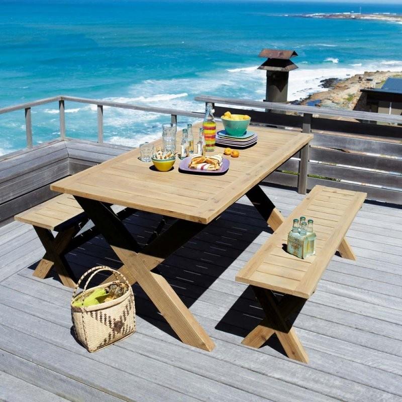 Gartentisch Mit 2 Bänken Aus Tanne L150 Lacanau  Maisons Du Monde von Gartentisch Mit 2 Bänken Bild
