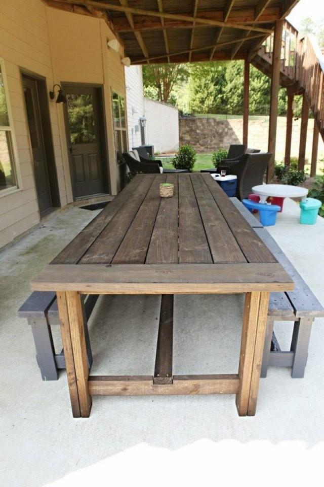 Gartentisch Selber Bauen  Garten  Gartentisch Selber Bauen von Rustikaler Holztisch Selber Bauen Bild