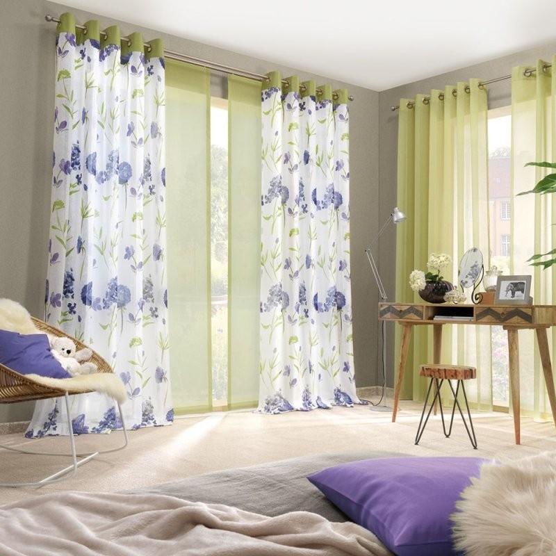 Gecrashte Gardine Mit Floral Bedruckter Batistoptik 265 Cm Hoch von Gardine 180 Cm Hoch Bild