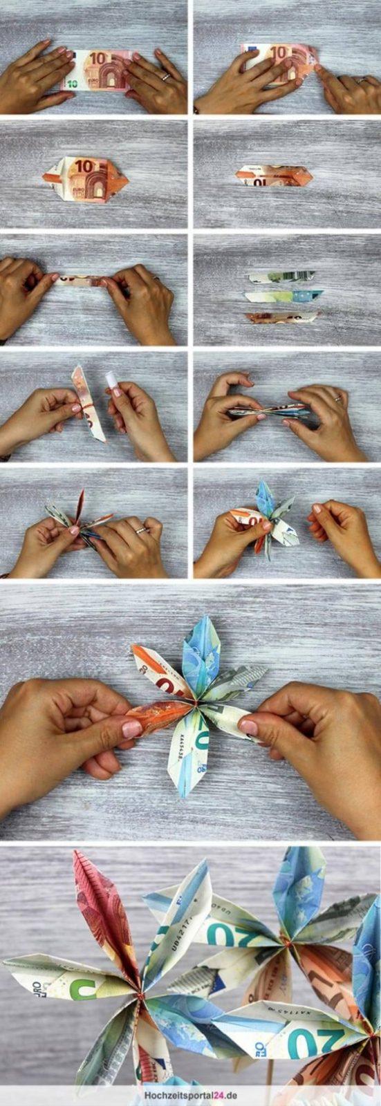 Geldblumen Tolle Blumen Aus Geld Für Die Hochzeit Falten von Geldscheine Falten Blume Mit Einem Schein Photo