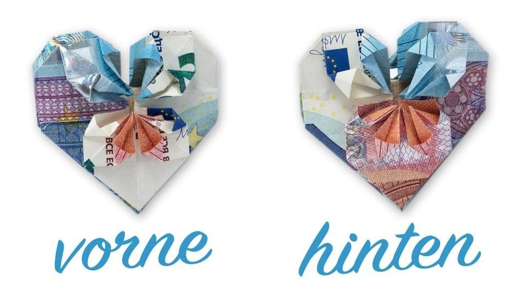 Geldscheine Falten Herz ❤ Geldgeschenk Zur Hochzeit Falten  Youtube von Geldschein Als Herz Falten Bild