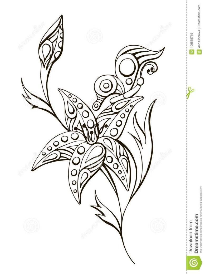 Gemalte Vektorlineare Schwarzweissblume Mit Schmetterling Stock von Gemalte Bilder Schwarz Weiß Photo