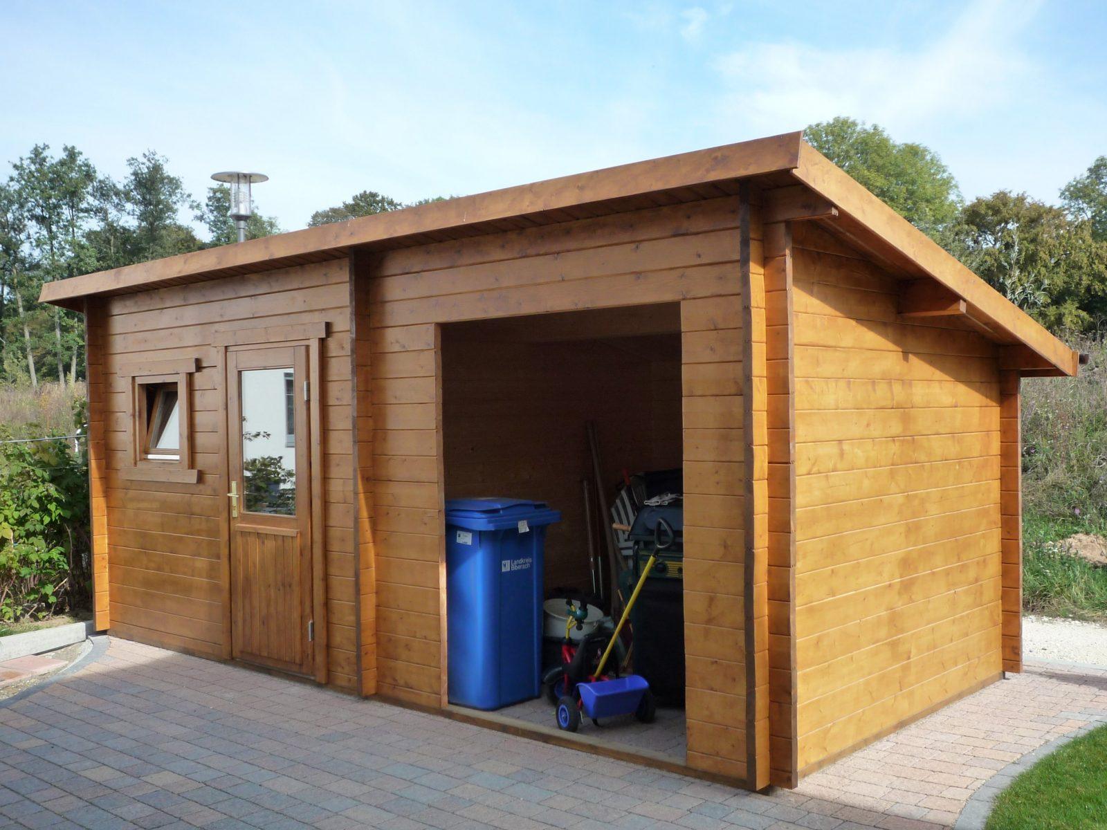 Geräteschuppen Mit Pultdach Und Offenem Teil 1  Gsp Blockhaus von Pultdach Garage Selber Bauen Bild