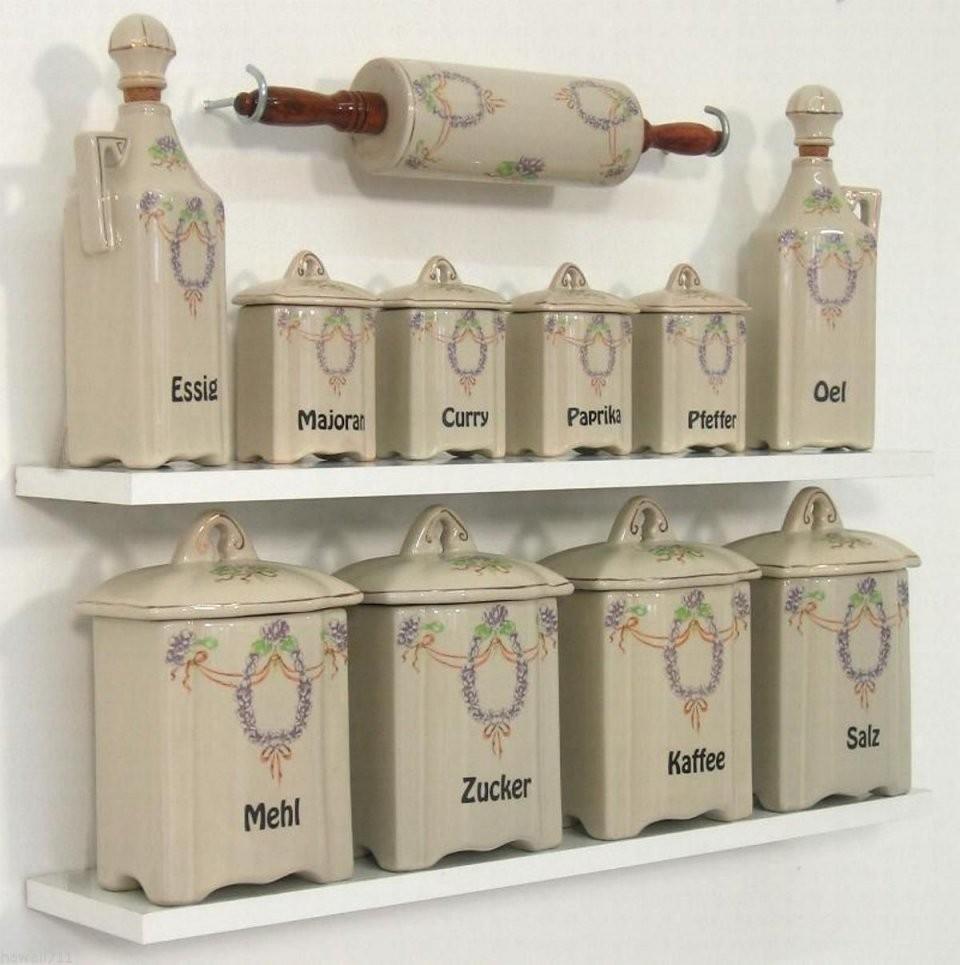 Gewürzregaldosen Antik Vorratsdosen Küchendosen Vorratsbehälter von Vorratsdosen Mehl Zucker Salz Keramik Photo