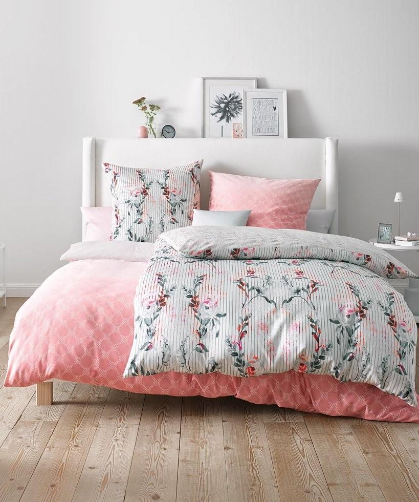 Grafische Bettwäsche Mako Satin ♥ Rosa 155X200 Fleuresse Reduziert von Bettwäsche 155X200 Mako Satin Photo