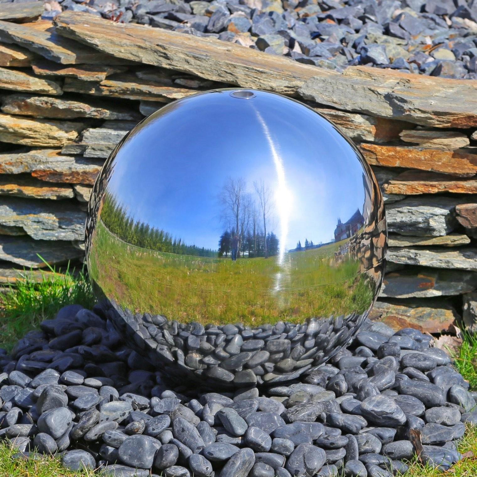 Große Kugel 48Cm Für Springbrunnenbau Mit Led Beleuchtung Wasserspiel von Gartenbrunnen Edelstahl Mit Beleuchtung Bild