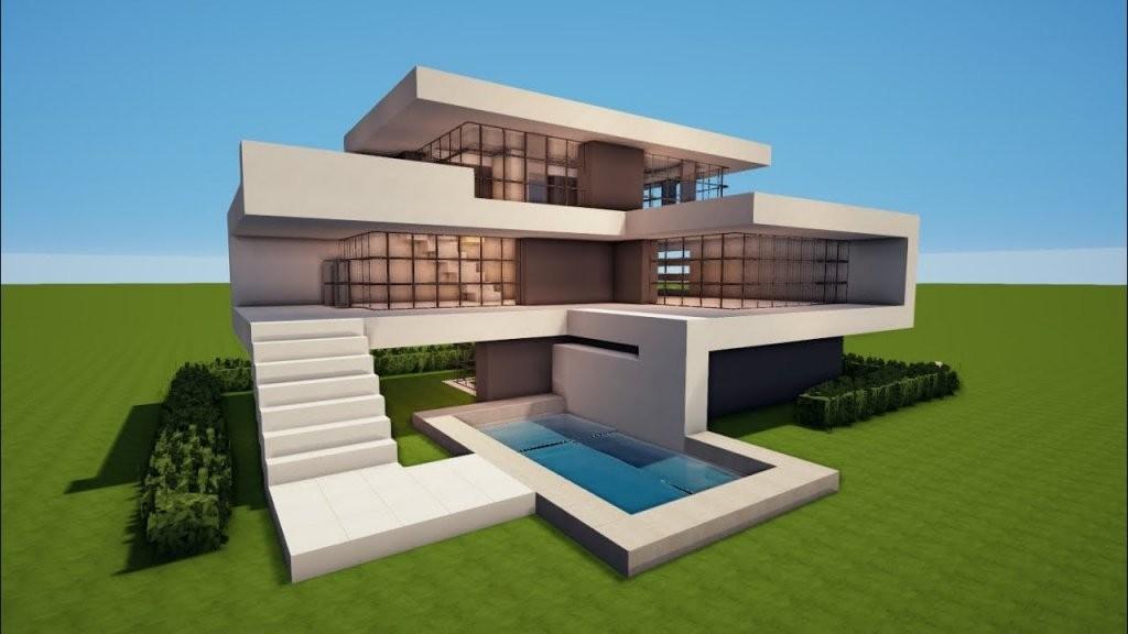 Großes Modernes Minecraft Haus Mit Pool Bauen Tutorial [Haus 73 von Minecraft Häuser Modern Zum Nachbauen Photo