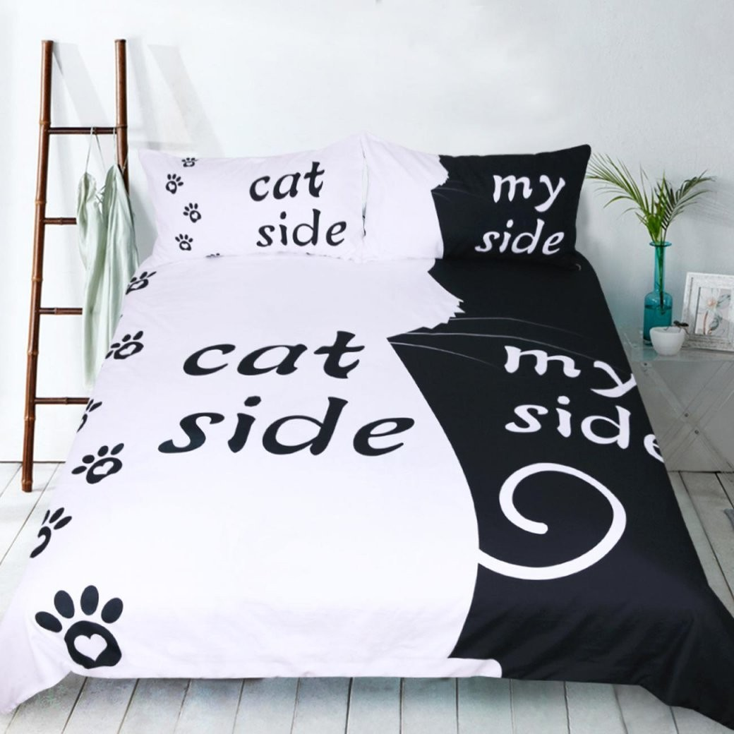 Großhandel Catdog Side Hisher Side Bettwäsche Set Bettbezug Set von Bettwäsche His Side Her Side Photo