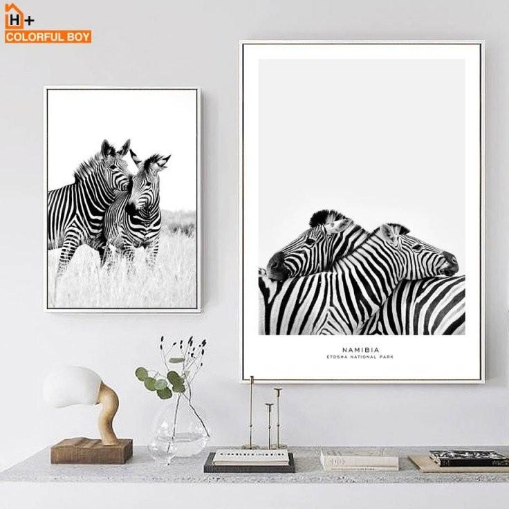 Großhandel Colorfulboy Wand Kunstdruck Zebra Schwarz Weiß Nordic von Zebra Bilder Auf Leinwand Photo