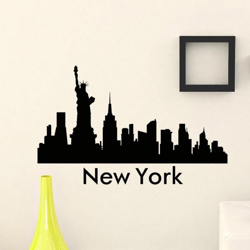Großhandel Die Wandaufkleber Vinyl Kunstwand New York City Skyline von Skyline New York Wandtattoo Photo