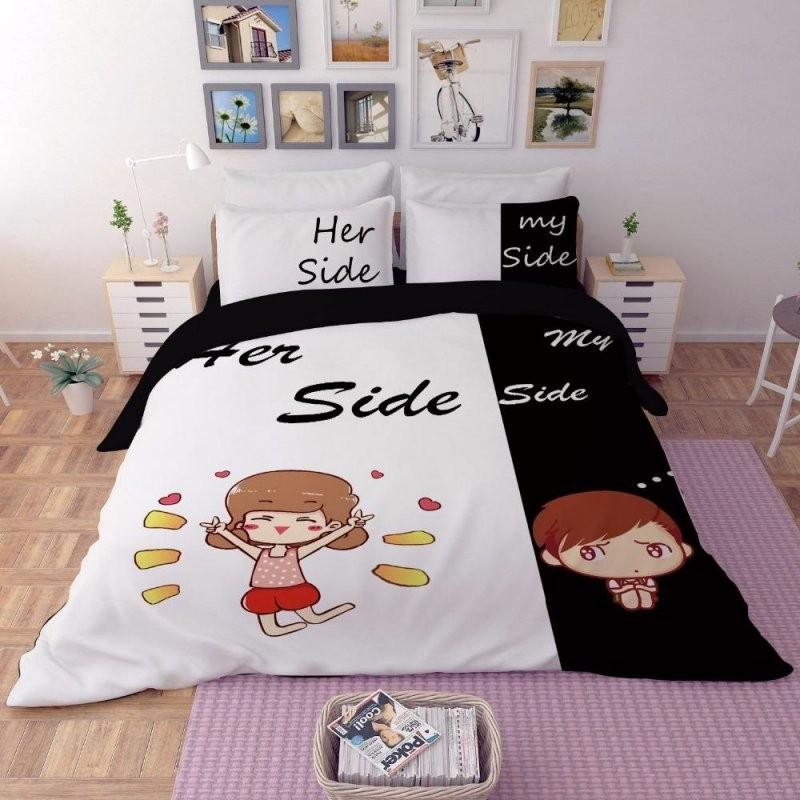Großhandel Erwachsene Paar Bettwäsche Ihre Seite Seine Seite von Bettwäsche His Side Her Side Photo