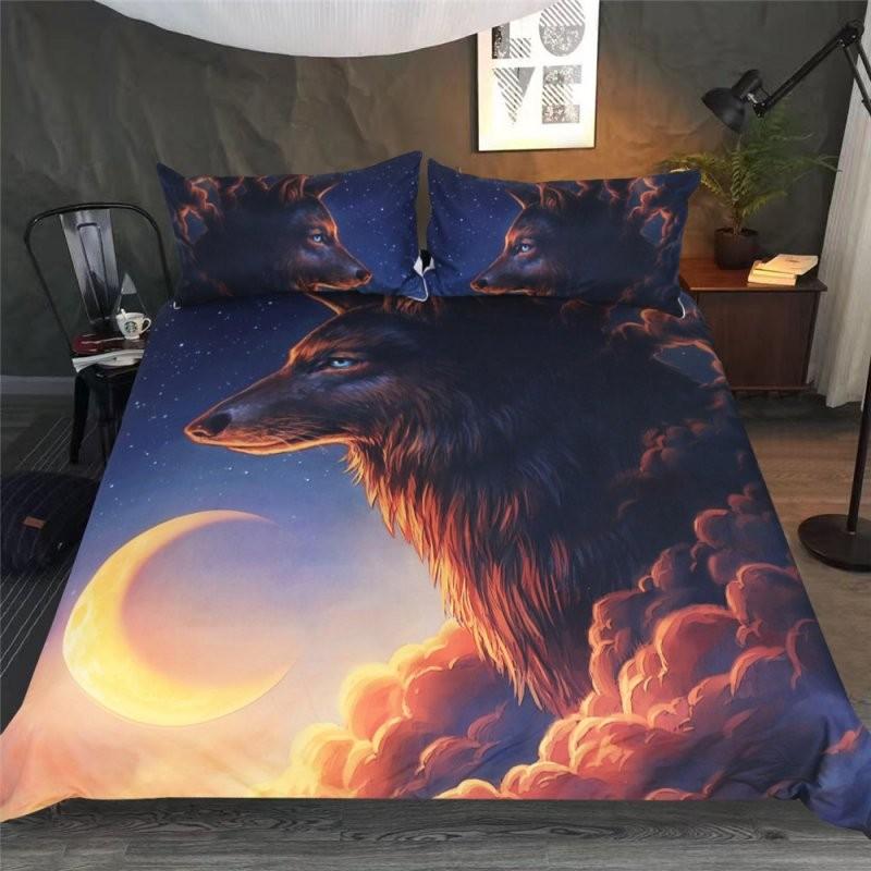 Großhandel Großhandel 3D Wolf Mond Gedruckt Tröster Bettwäsche Sets von Bettwäsche 2 X 2 M Bild