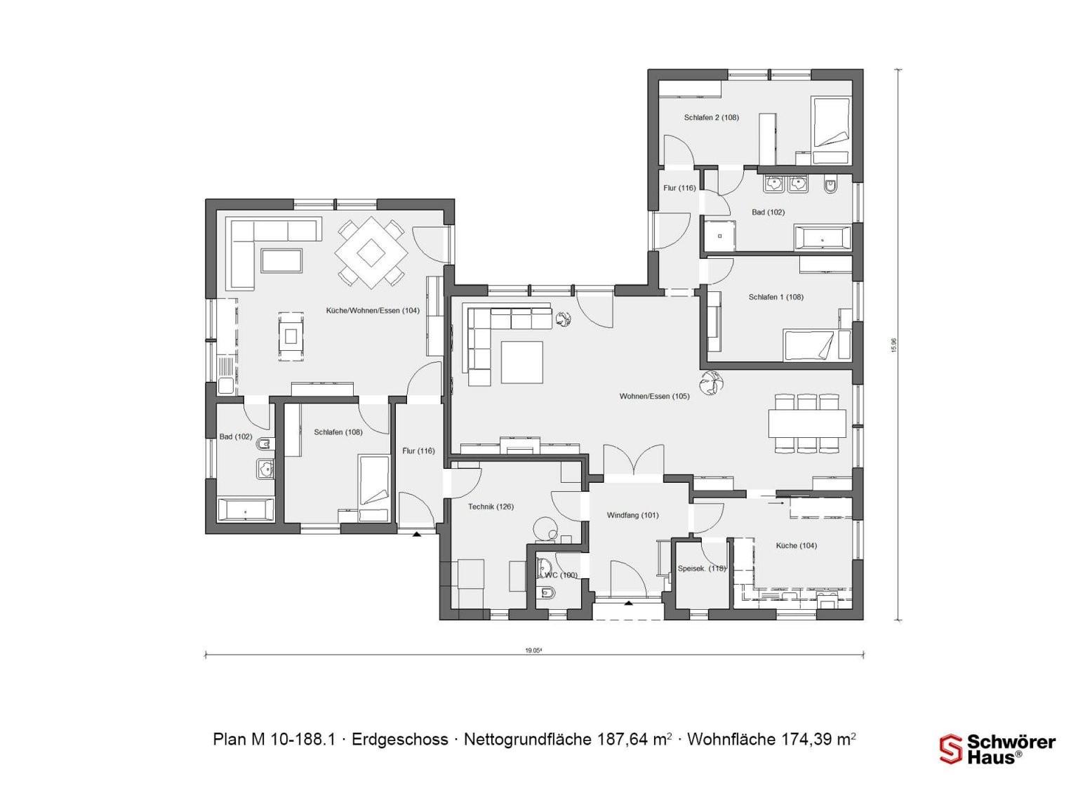 Grundriss Erdgeschoss Bungalow In Uform M 101881  Hausplan von Bungalow L Form Grundriss Bild