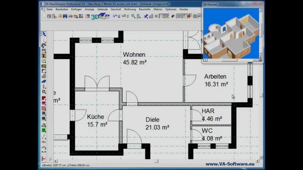 Grundrisse Erstellen  Zeichnen Mit Va Hausdesigner Professional 2 von Wohnung Einrichten Programm Kostenlos Bild