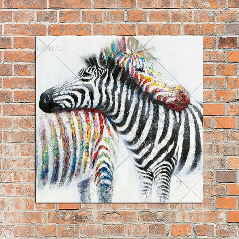 Handgemalte Moderne Bunte Zebra Ölmalerei Auf Leinwand Tier Kunst von Zebra Bilder Auf Leinwand Bild