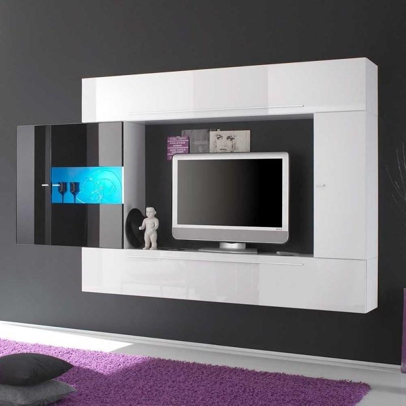 Hängende Wohnwand In Schwarz Und Weiß Hochglanz Modern  Leveziano von Wohnwand Weiß Hochglanz Hängend Bild