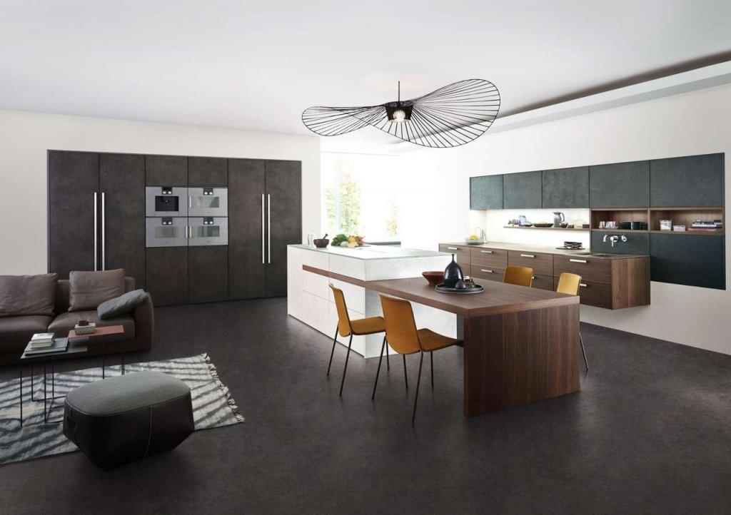 Harmonie Von Küche Und Wohnraum  Küchen Journal von Küche Mit Integriertem Tisch Bild