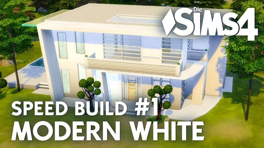 Haus Bauen  Die Sims 4 Modern White  Speed Build 1 Mit Grundriss von Sims 4 Haus Bauen Bild