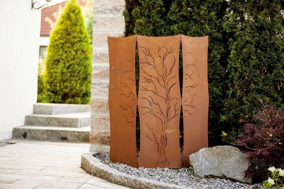 Haus Möbel Paravent Für Garten Sichtschutz Edelrost Metall Weide von Sichtschutz Garten Metall Rost Bild