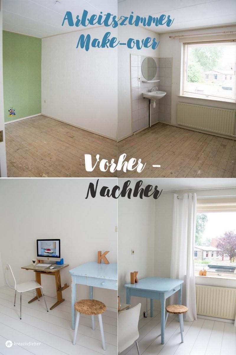 Haus Renovieren Das Arbeitszimmer Makeover  Kreativfieber von Schlafzimmer Renovieren Vorher Nachher Bild