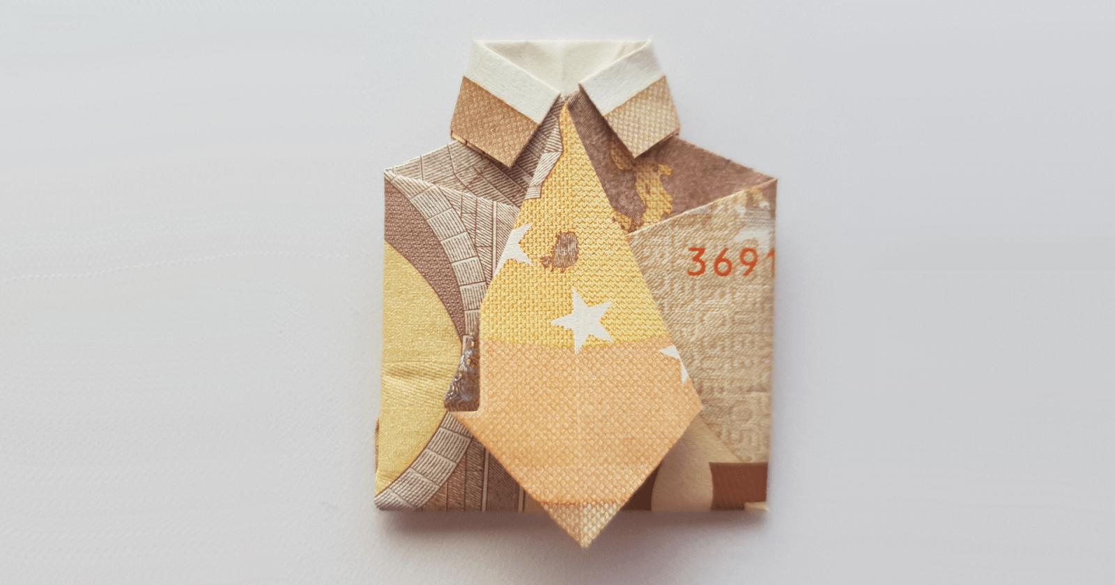 Hemd Mit Krawatte Aus Einem Geldschein Falten  Origami Mit Geldscheinen von Origami Hemd Mit Krawatte Photo