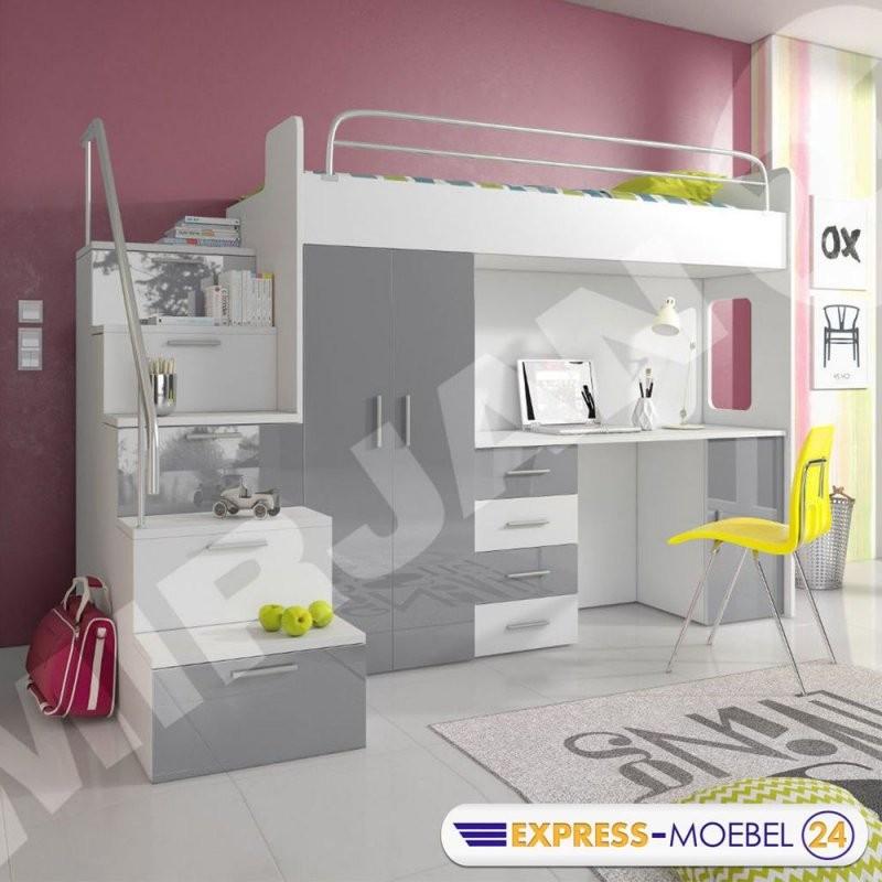 Hochbett Etagenbett Multimo 4S Kinderbett Mit Schreibtisch Und von Kinderbett Mit Schreibtisch Und Kleiderschrank Bild