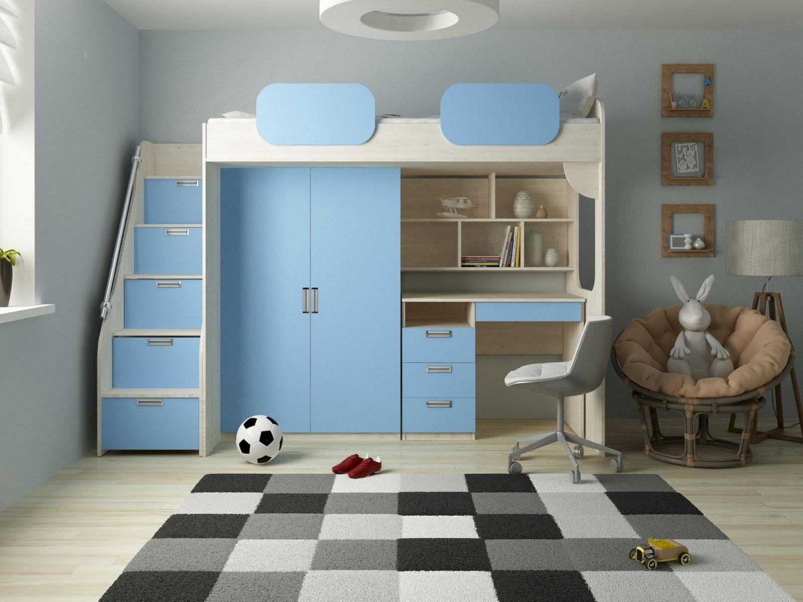 Hochbett Geko Blau  Kinder Komfort von Hochbett Mit Treppe Und Schrank Bild